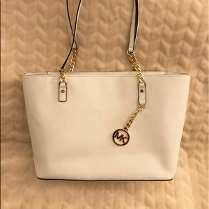 White Saffiano Leather Michael Kors Chain Tote!